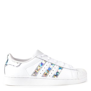 adidas Originals White and Silver Iridescent Infants Superstar Sneakers 28 (UK 10.5)