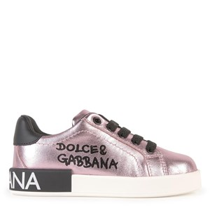 Dolce & Gabbana Mini Me Metallic Leather Sneakere Lyserøde 28 EU
