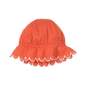 Stella McCartney Kids Scalloped Anglaise Embroidered Sun Hat Coral 3-6 months