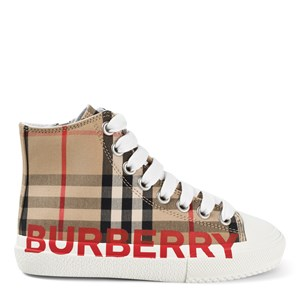 Burberry Logo Print Vintage Check High-Top Sneakers Archive Beige 33 (UK 2.5)