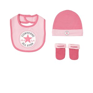 Converse Pink Hat, Bib and Bootie Set 6-12 mdr