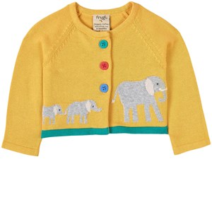Frugi Little Annie Cardigan Bumble Bee/Elephant 3-6 months