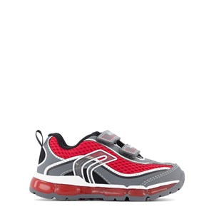 Geox Grey and Red Android Boy Velcro Light Up Trainers 25 (UK 7.5)