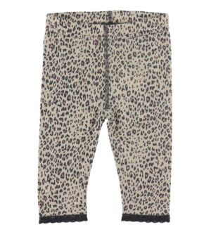 Hust and Claire Leggings - Lili - Uld/Silke - Beige Leopard