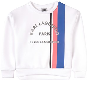 Karl Lagerfeld Kids White Karl Address Logo with Stripe Sweatshirt 4 år