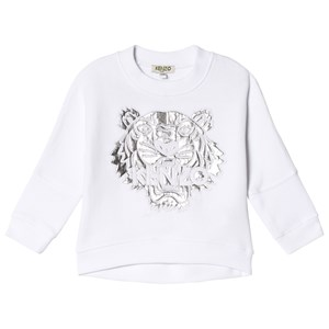 Kenzo White and Silver Embroidered and Metallic Batwing Sweatshirt 6 years