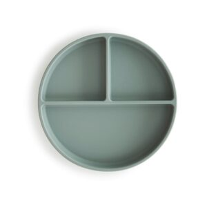 Mushie Silicone Opdelt Tallerken - Cambridge Blue