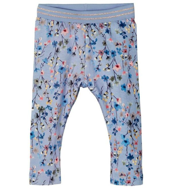 Name It Leggings - NbfTessie - Dusty Blue m. Blomster