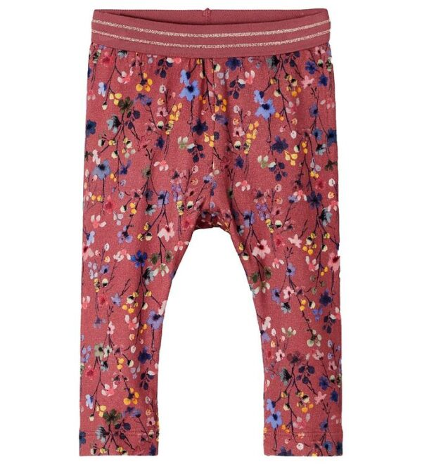 Name It Leggings - NbfTessie - Withered Rose m. Blomster