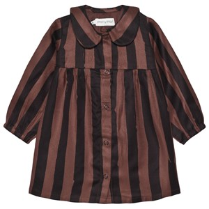 Sproet & Sprout Stripe Button Kjole Choco 92-98 (2-3 years)