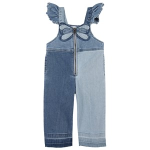 Stella McCartney Kids Butterfly Denim Jumpsuit Overalls Blå 3 år