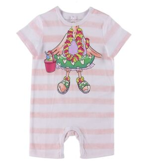 Stella McCartney Kids Heldragt - Flamingo - Hvid/Rosastribet