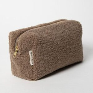 STUDIO NOOS toilettaske / kostmetiktaske i Teddy Fleece - Brown Walnut