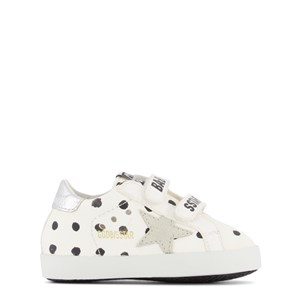 Golden Goose white Baby School Pois Print Leather Crib Shoes 16 (UK 0.5)