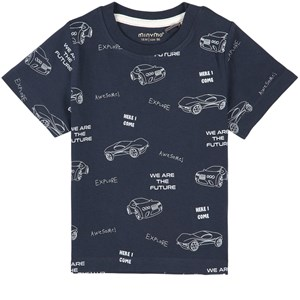 Minymo SS AOP We Are The Future T-shirt Total Eclipse 86 cm (1-1,5 år)