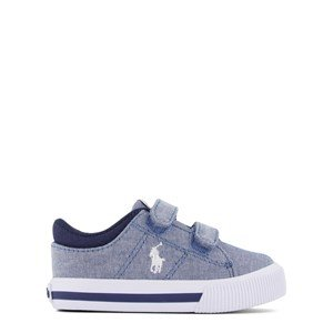 Ralph Lauren Blue Chambray Canvas with White PP Elmwood EZ Velcro Strap Trainer 21 (UK 4.5)