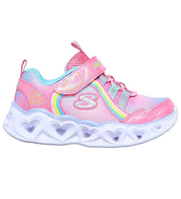 Skechers Sko - Girls Heart Lights - Pink/Regnbue m. Lys