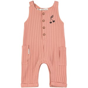 Sproet & Sprout Pink Stripe with Cherry Print Jumpsuit 80-86 (12-18 months)