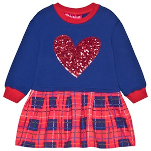 Agatha Ruiz de la Prada Sequin Heart and Check Sved Kjole Blå 10 years