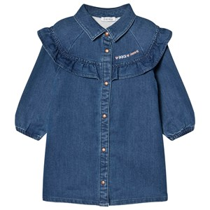 IKKS Ruffle Button Up Kjole Blå 18 months