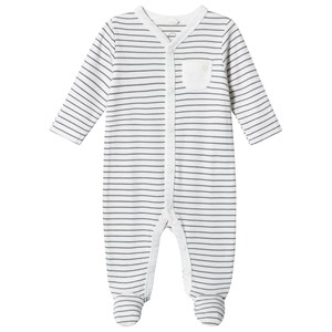 Mori Grey Stripe Footed Baby Body 9-12 months