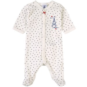 Petit Bateau Paris Dotted Footed Baby Body White 12 mdr
