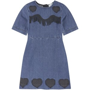 Stella McCartney Kids Hearts & Fringe Washed Denim Kjole Blå 3 years